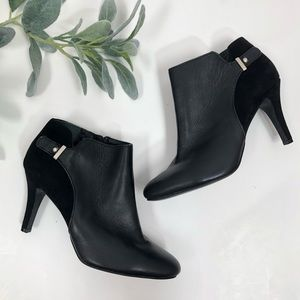 {Alfani} Leather black heeled booties 8.5
